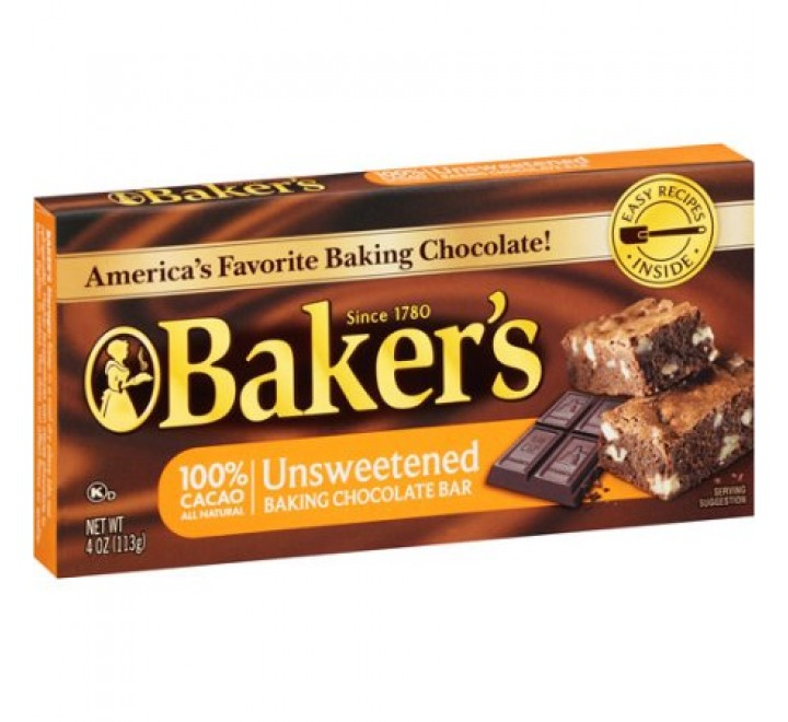 Baker's Unsweetened Baking Chocolate Bar (113g)