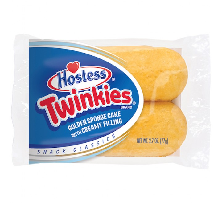 Hostess Twinkies 2-Pack, Golden Sponge Cake with Creamy Filling (77g)